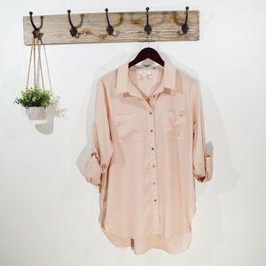 CALVIN KLEIN Pink Tab Sleeve Buttondown Blouse Top